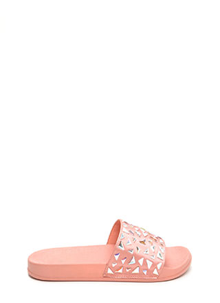 Extra Shine Jeweled Satin Slide Sandals