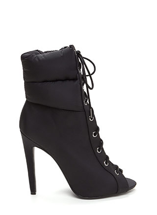 Urban Warrior Lace-Up Peep-Toe Booties