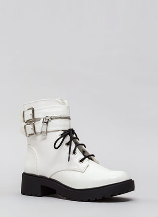Double Up Buckled Lace-Up Combat Boots
