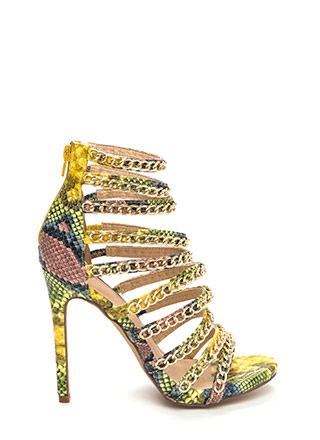 Chain Gang Caged Snakeskin Heels