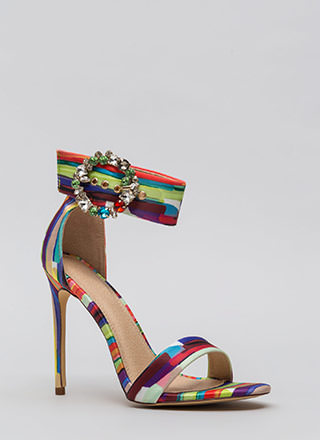 Splendid Gems Striped Satin Heels