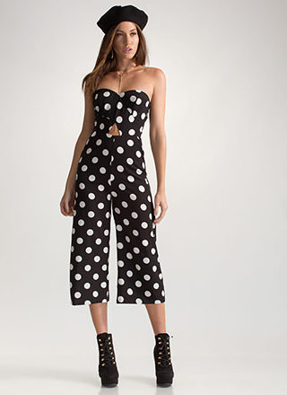 Dot Number Strapless Cropped Jumpsuit