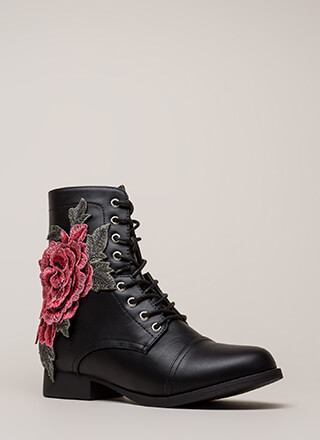 Grow Wild Embroidered Lace-Up Boots