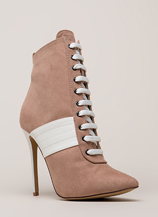 High Contrast Pointy Faux Suede Booties
