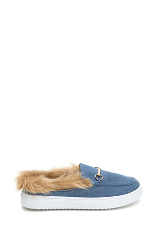 Flat Out Furry Denim Slip-On Sneakers