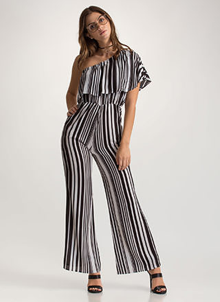 One Love Striped Palazzo Jumpsuit