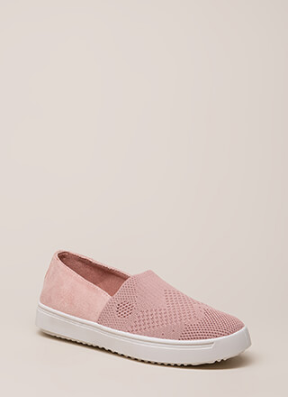 Knit List Faux Suede Slip-On Sneakers