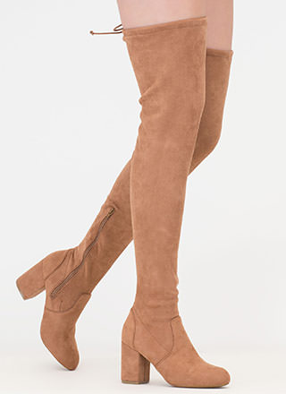Block Solid Drawstring Thigh-High Boots