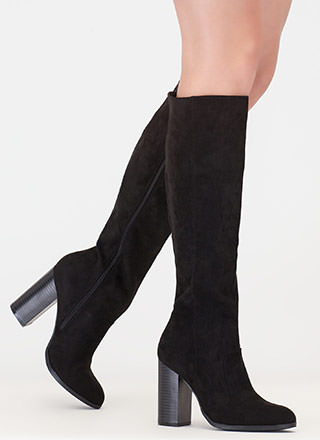 Fall For It Chunky Faux Suede Boots