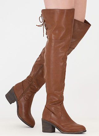 Back At It Faux Leather Thigh-High Boots