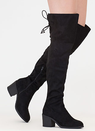 Back At It Faux Suede Thigh-High Boots