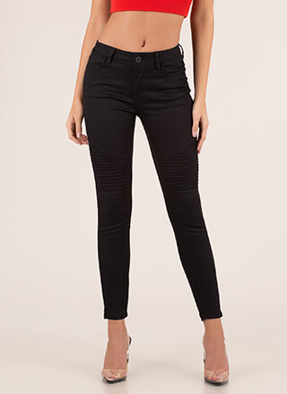 Moto Babe Textured Skinny Jeans