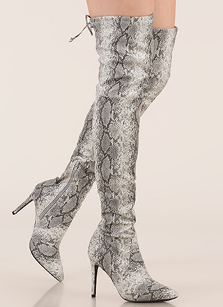 Snake Out Drawstring Thigh-High Boots
