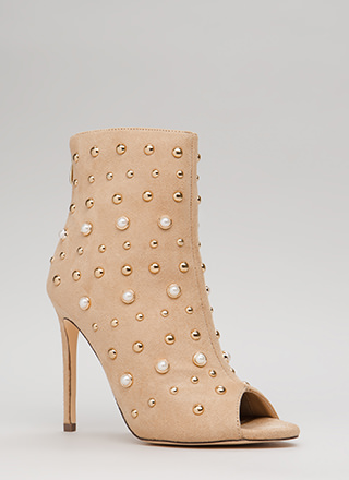Pearls Or Studs Faux Suede Booties