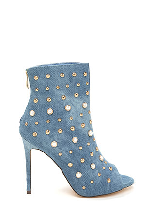 Pearls Or Studs Washed Denim Booties