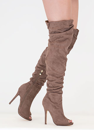 I Slouch Faux Suede Thigh-High Boots