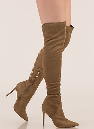 Ladder Up Strappy Thigh-High Boots