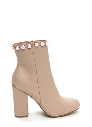 Pearls And Studs Chunky Booties