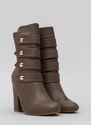 Four The Win Strappy Studded Booties