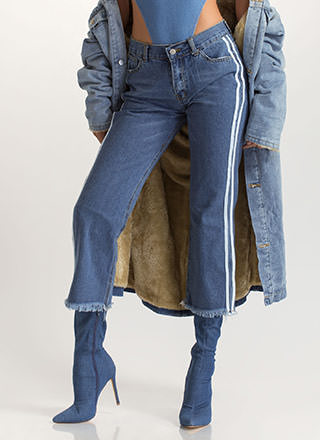 Stripe Right Cut-Off Boyfriend Jeans