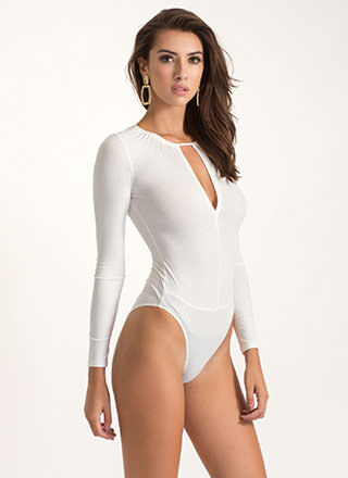Let's V Real Cut-Out Ribbed Bodysuit