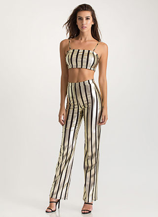 Stylish Gleam Striped Two-Piece Jumpsuit