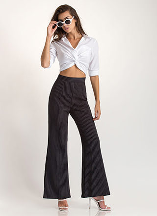 Good Work Flared Pinstriped Pants
