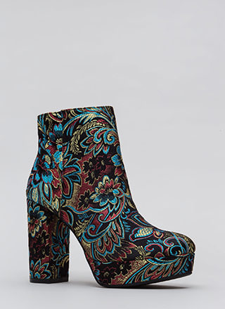 Oh So Chunky Floral Platform Booties