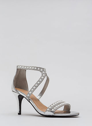 Beads The Day Jeweled Faux Patent Heels