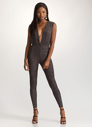 Magical Night Sparkly Plunging Jumpsuit
