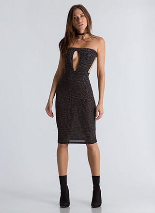 It's Lit Sparkly Cut-Out Bodycon Dress