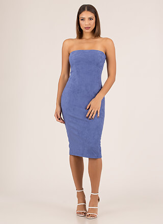 Crowd Pleaser Faux Suede Strapless Dress