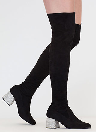 Block This Way Jeweled Thigh-High Boots