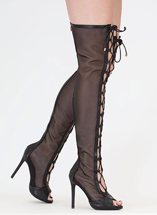 Mesh Around Lace-Up Thigh-High Boots