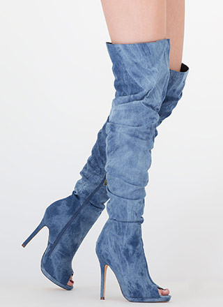 I Slouch Washed Denim Thigh-High Boots