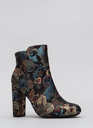 This Is Living Chunky Floral Booties