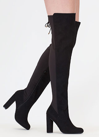 Tie One On Lace-Back Thigh-High Boots