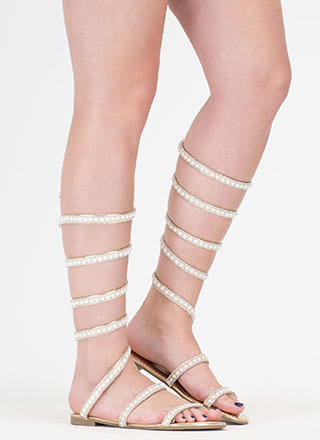 Playing Coil Beaded Gladiator Sandals