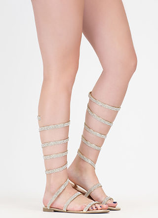 Playing Coil Jeweled Gladiator Sandals
