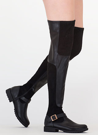 Moto Mix Thigh-High Faux Leather Boots