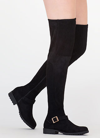 Moto Mix Thigh-High Faux Suede Boots