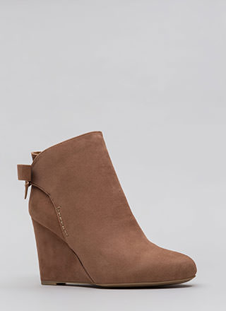 Bow So Cute Velvet Wedge Booties