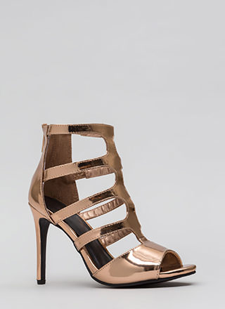 Out And About Caged Cut-Out Heels