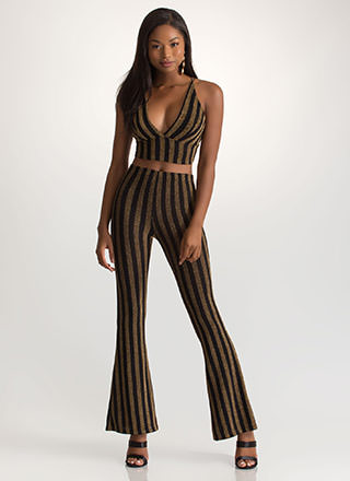 Easy Sparkle Striped Top 'N Pants Set