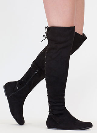 Haute Look Lace-Back Thigh-High Boots