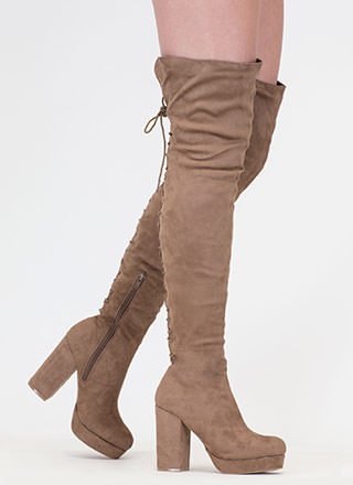 Stand Tall Lace-Back Thigh High Boots