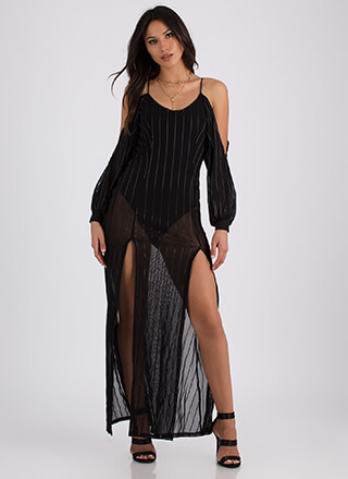 Sheer Joy Double Slit Striped Maxi Dress