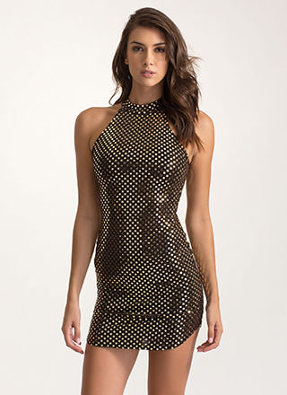 Hey Dot Stuff Metallic Minidress