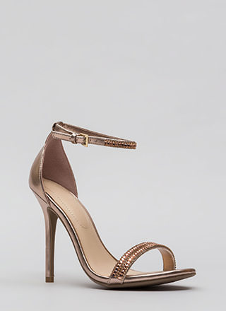 All Jeweled Up Strappy Metallic Heels