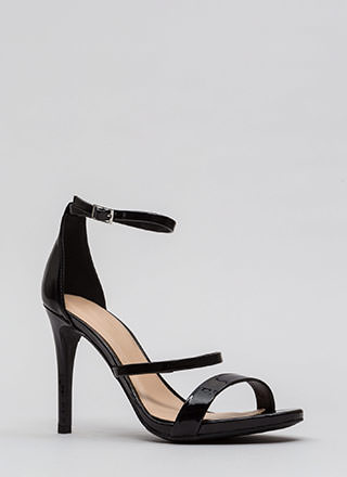 Strappy To See You Faux Patent Heels